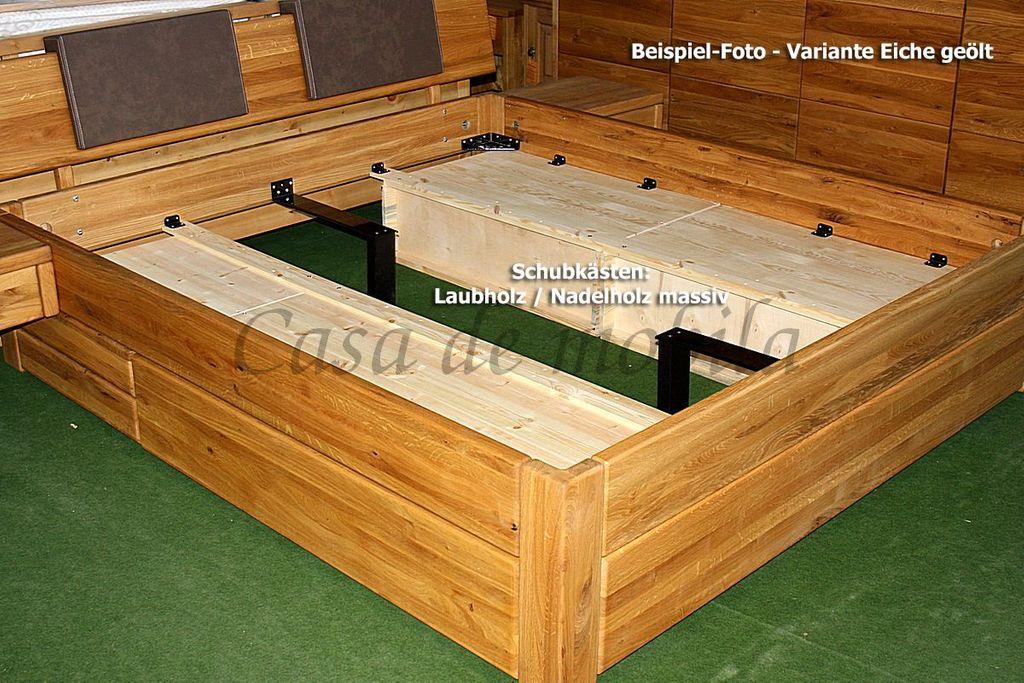 Schubladenbett 180x200 2 Schubkästen Komforthöhe Eiche massiv geölt – Bild 8