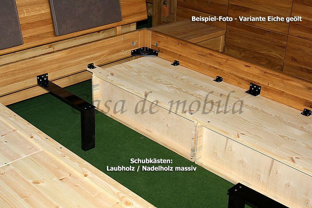Schubladenbett 180x200 2 Schubkästen Komforthöhe Eiche massiv geölt – Bild 11
