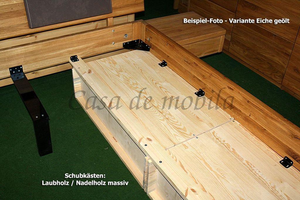 Schubladenbett 180x200 2 Schubkästen Komforthöhe Eiche massiv geölt – Bild 12