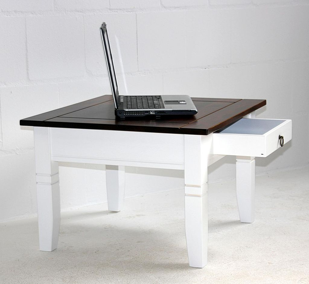 couchtisch 65x46x65cm 1 schublade pappel massiv 2farbig. Black Bedroom Furniture Sets. Home Design Ideas