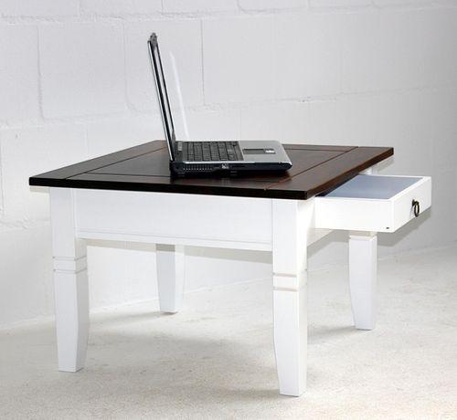 Massivholz Couchtisch 65x65cm Beistelltisch weiß nussbaumfarben Tisch Schublade – Bild 4