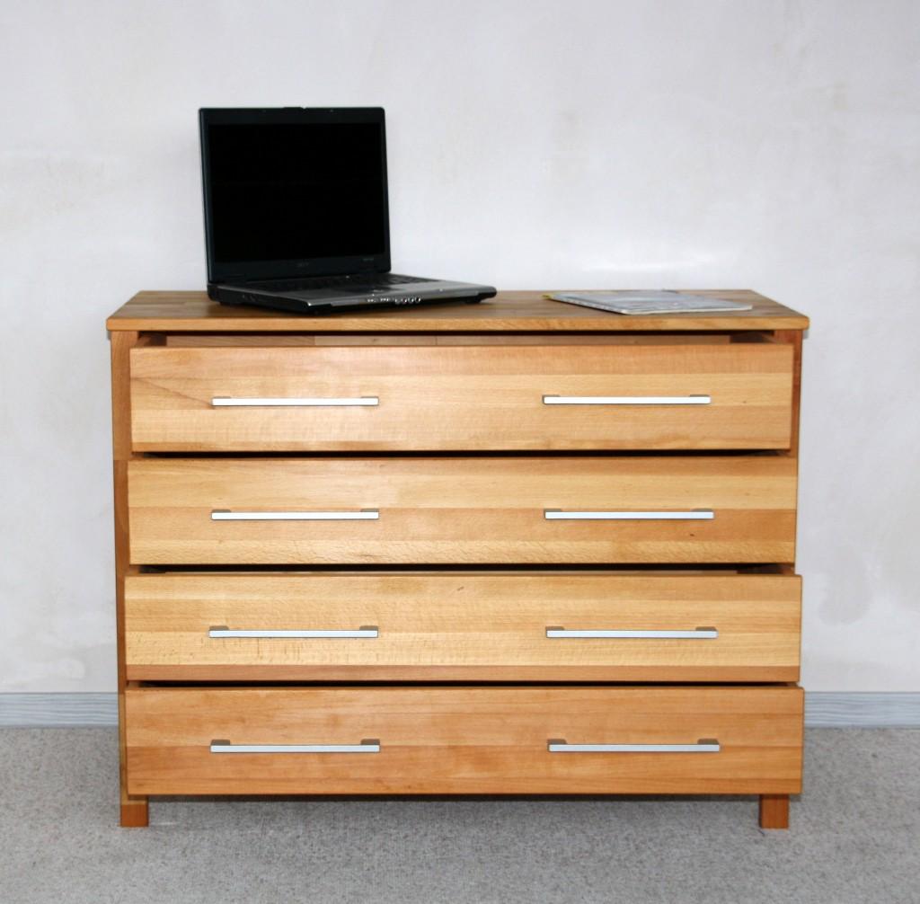 kommode 100x76x45cm 4 schubladen kernbuche massiv ge lt. Black Bedroom Furniture Sets. Home Design Ideas