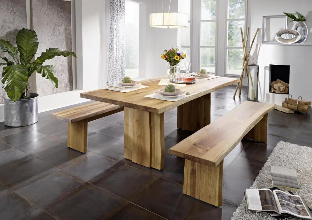 esstisch 260x76x100cm baumkante holzf e wildeiche ge lt. Black Bedroom Furniture Sets. Home Design Ideas