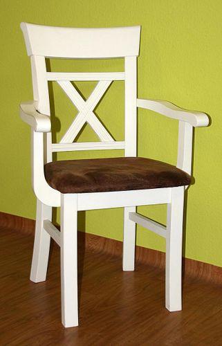 Massivholz Armlehnstuhl Kiefer cremeweiß lackiert braun gepolstert – Bild 3
