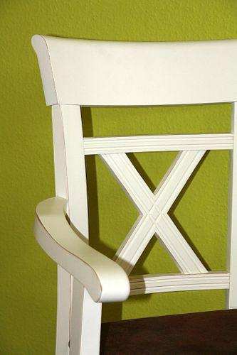 Massivholz Armlehnstuhl Kiefer cremeweiß lackiert braun gepolstert – Bild 4