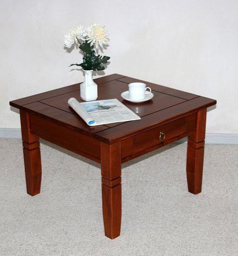 Couchtisch Beistelltisch kirschbaumfarben Sofatisch Tisch 65x65cm Schublade – Bild 2