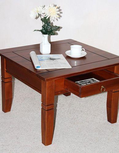 Couchtisch Beistelltisch kirschbaumfarben Sofatisch Tisch 65x65cm Schublade – Bild 5