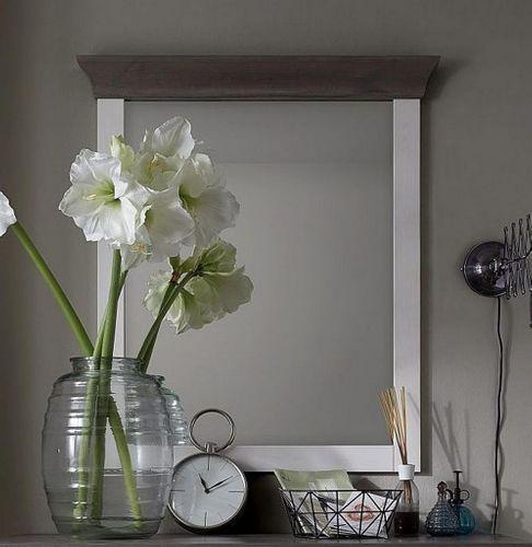 Dielenspiegel 87x97 Kiefer 2farbig weiß grau Schlafzimmerspiegel Wandspiegel – Bild 1