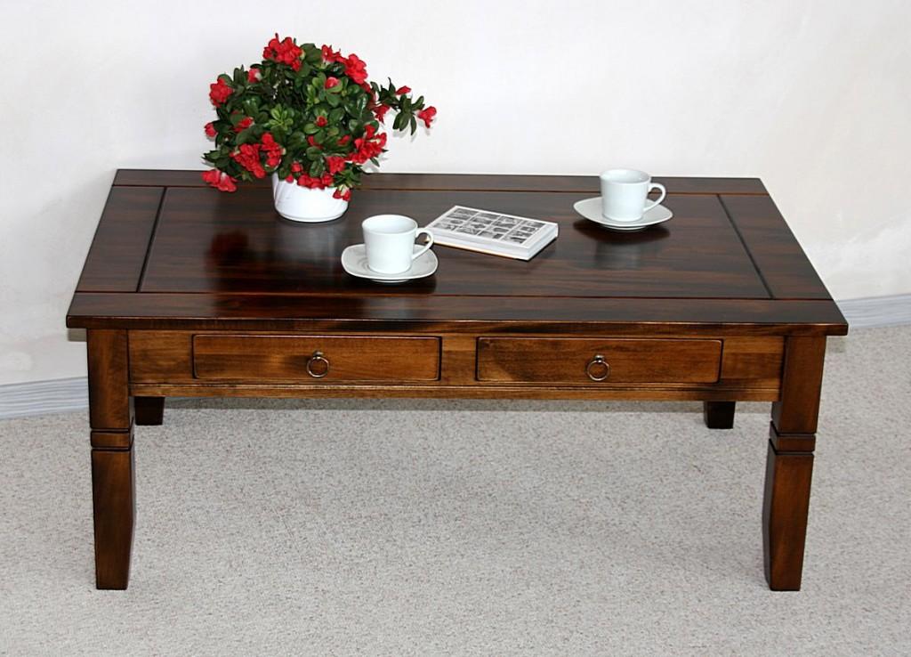 Couchtisch 110x46x65cm, 2 Schubladen, Tischplatte mit Fräsung ...