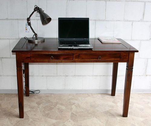 Bürotisch 110x64 Vollholz Computertisch PC-Tisch Schreibtisch braun nussbaum Farbe massiv – Bild 4