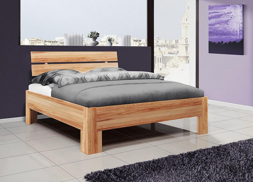 bett 140x200 doppelbett holzbett kernbuche ge lt. Black Bedroom Furniture Sets. Home Design Ideas