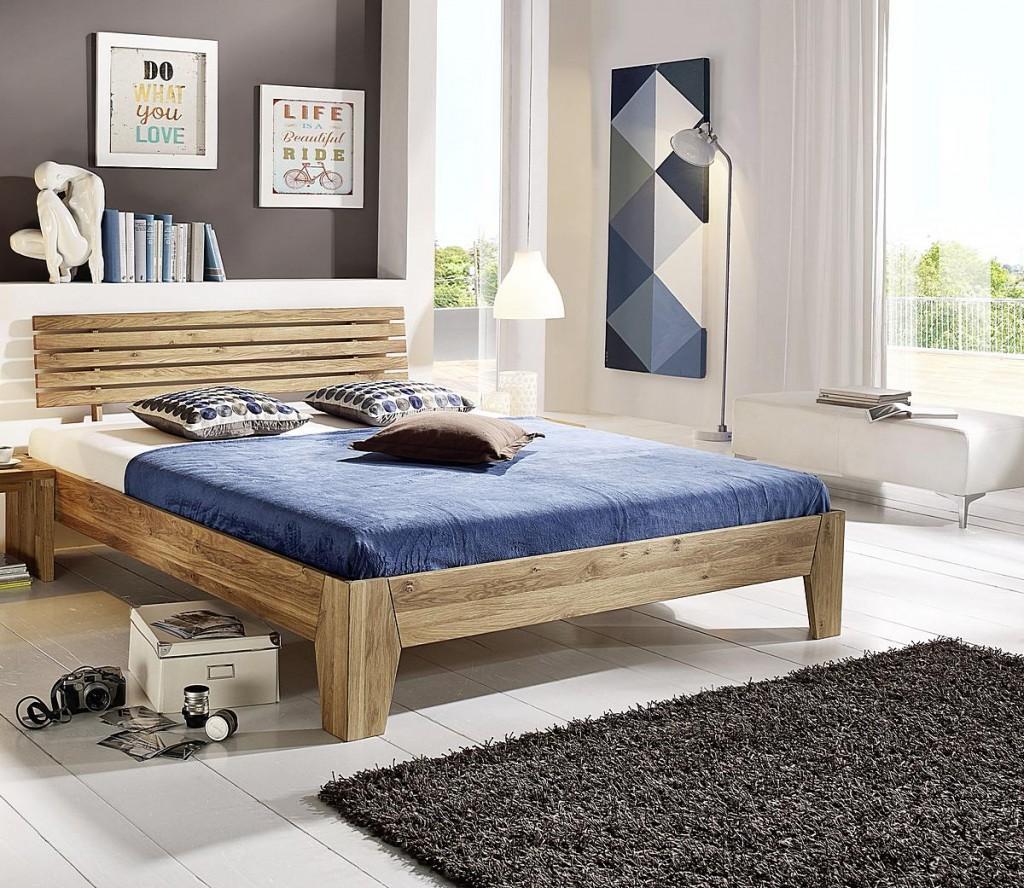 Doppelbett 180x200 Eichebett Vollholz massiv Bett Wildeiche geölt – Bild 1