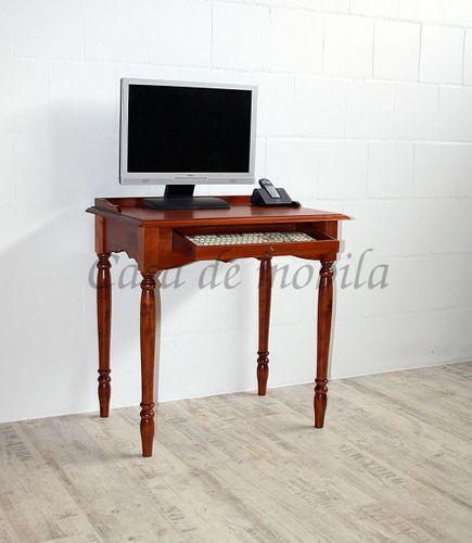 Sekretär mit Tastaturauszug kirschbaumfarben Computertisch rotbraun massiv mit Schublade – Bild 1