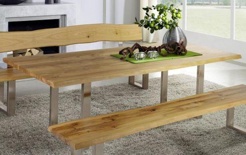Baumtisch erweiterbar 200/260x100 Wildeiche massiv Vollholz Esstisch mit Ansteckplatte und Metallfuß – Bild 1