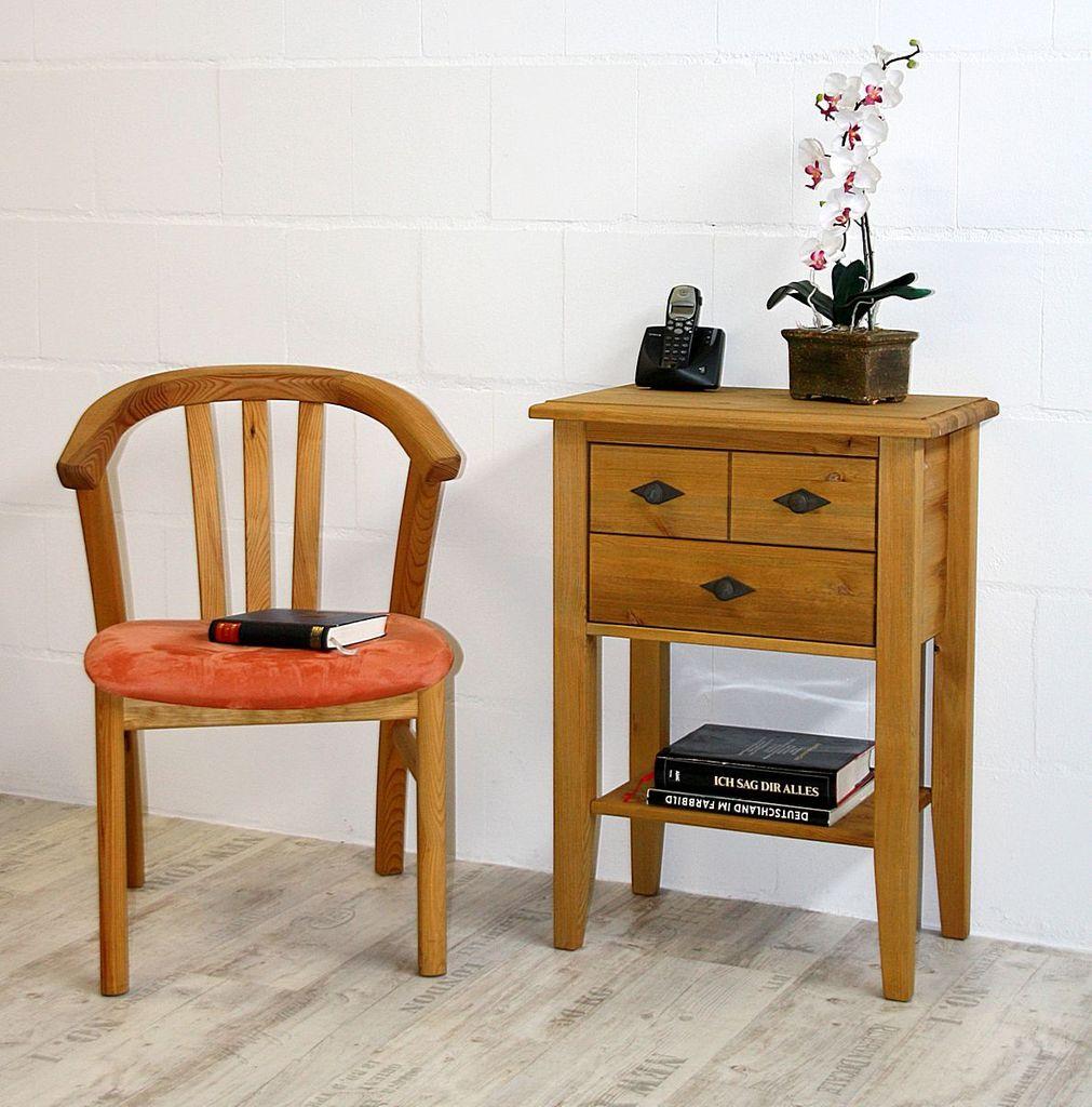 konsolentisch 58x79x35cm 2 schubladen kiefer massiv gelaugt ge lt. Black Bedroom Furniture Sets. Home Design Ideas