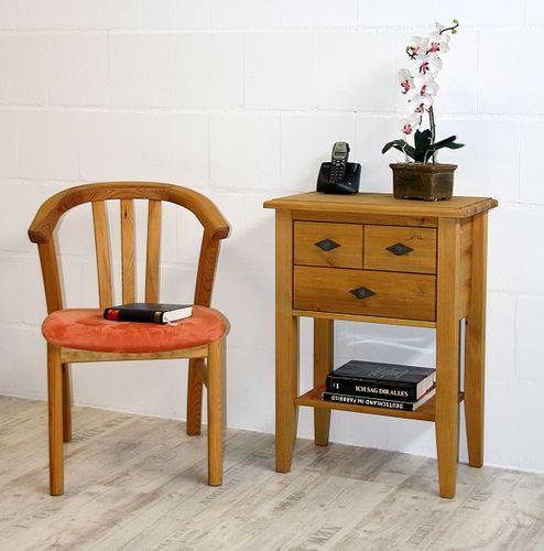 Telefontisch Konsolentisch 2 Schubladen Kiefer massiv gelaugt geölt – Bild 1