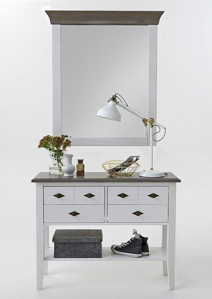 Telefontisch Konsolentisch 4 Schubladen Kiefer massiv 2farbig weiß grau – Bild 3