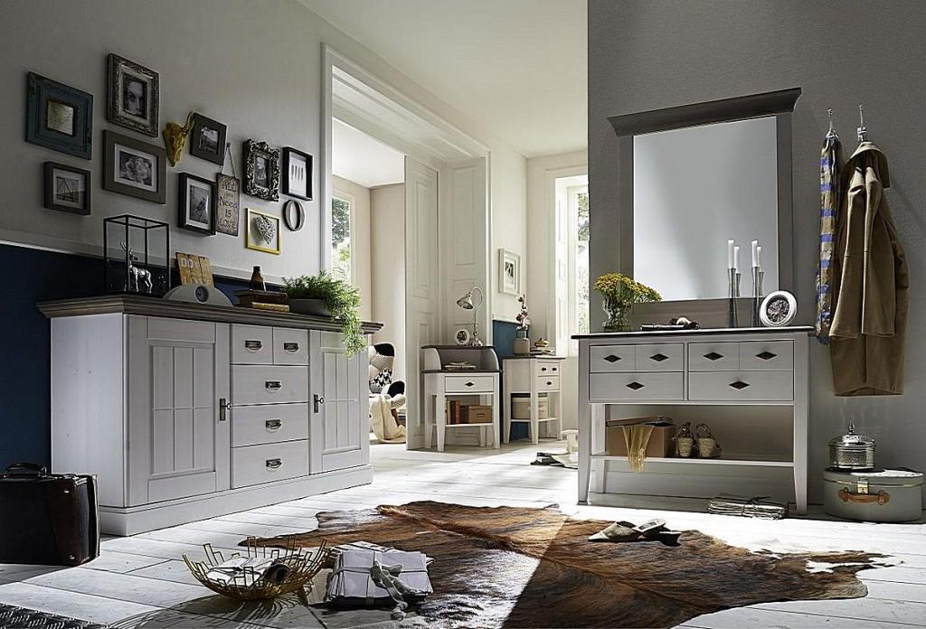 Telefontisch Konsolentisch 4 Schubladen Kiefer massiv 2farbig weiß grau – Bild 4
