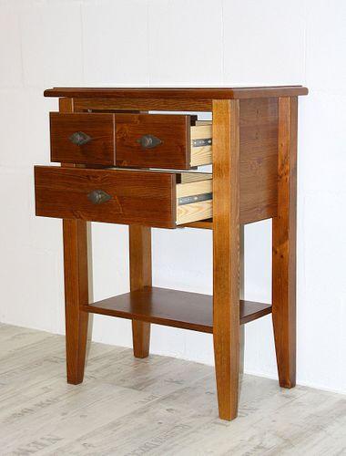 Telefontisch Konsolentisch 2 Schubladen Kiefer massiv bernstein lackiert – Bild 2