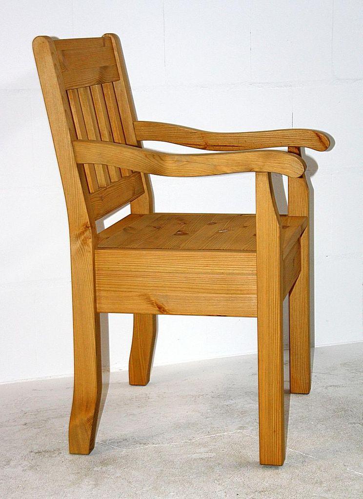 Armlehnstuhl / Stuhl BOSTON aus Kiefer massiv, gelaugt geölt – Bild 3