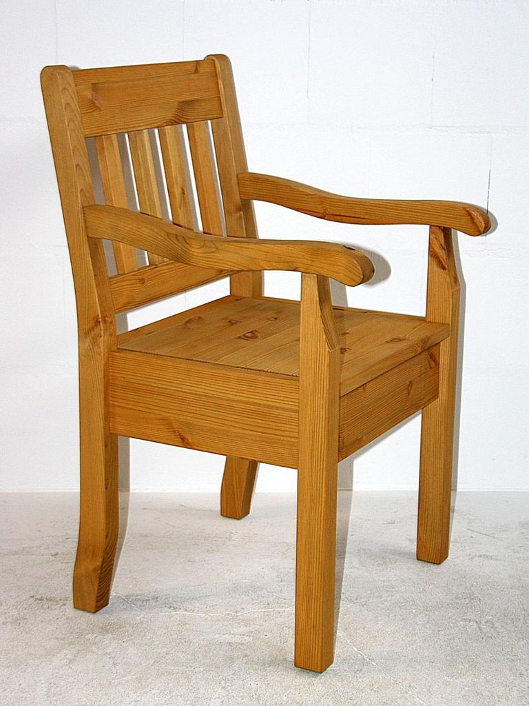 Armlehnstuhl Kiefer massiv Sessel gelaugt geölt Vollholz Stuhl mit Armlehnen – Bild 4