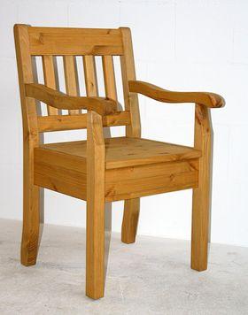 Armlehnstuhl Kiefer massiv Sessel gelaugt geölt Vollholz Stuhl mit Armlehnen 001