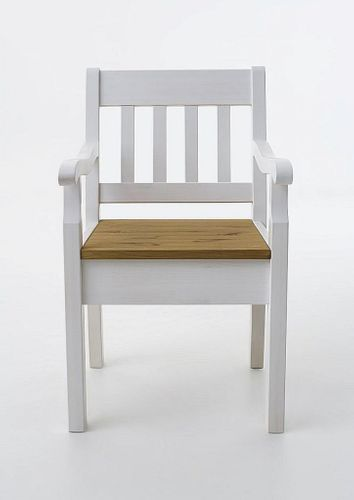 Armlehnstuhl Kiefer massiv Sessel 2farbig weiß gelaugt Vollholz Stuhl mit Armlehnen – Bild 1