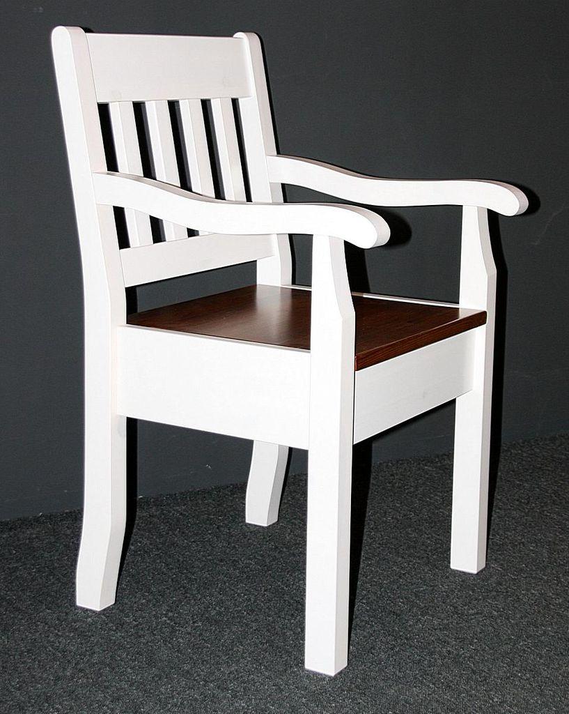 Armlehnstuhl Kiefer massiv Sessel 2farbig weiß bernstein Vollholz Stuhl mit Armlehnen – Bild 6