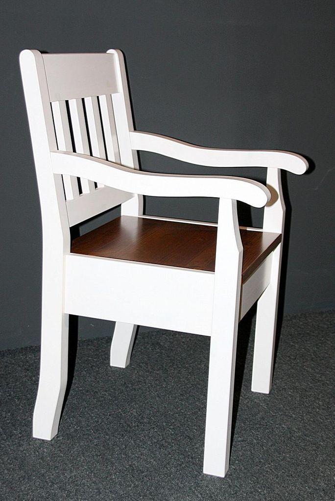 Armlehnstuhl Kiefer massiv Sessel 2farbig weiß bernstein Vollholz Stuhl mit Armlehnen – Bild 7