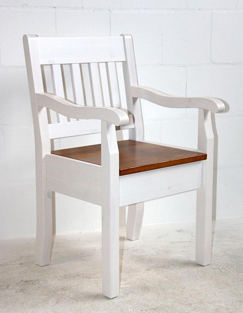 Armlehnstuhl Kiefer massiv Sessel 2farbig weiß bernstein Vollholz Stuhl mit Armlehnen – Bild 4
