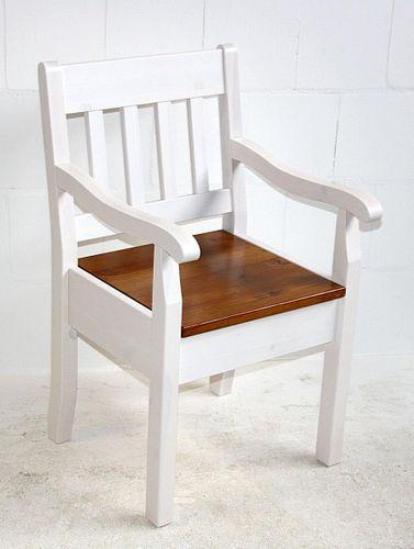 Armlehnstuhl Kiefer massiv Sessel 2farbig weiß bernstein Vollholz Stuhl mit Armlehnen – Bild 2