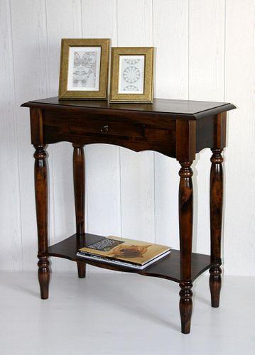 Konsolentisch braun nussbaum Farbe Wandtisch Telefontisch Vollholz massiv  – Bild 1