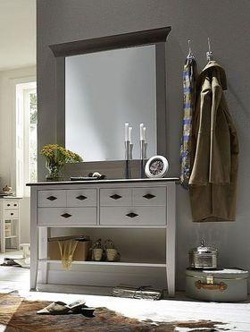 Dielen-Set 2teilig Kiefer 2farbig weiß grau Telefontisch Spiegel Vollholz massiv 001
