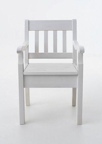 Armlehnstuhl Kiefer massiv Sessel weiß Vollholz Stuhl mit Armlehnen