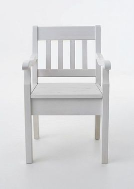 Armlehnstuhl 54x93x46cm, Kiefer massiv weiß lackiert