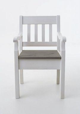 Armlehnstuhl 54x93x46cm, Kiefer massiv 2farbig weiß/grau