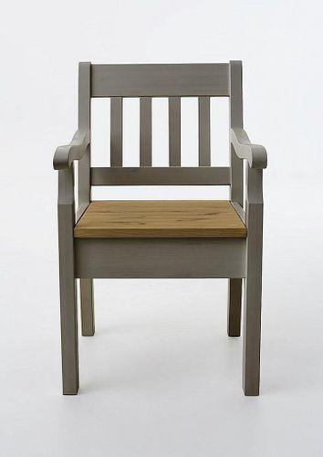 Armlehnstuhl Kiefer massiv Sessel 2farbig grau gelaugt Vollholz Stuhl mit Armlehnen