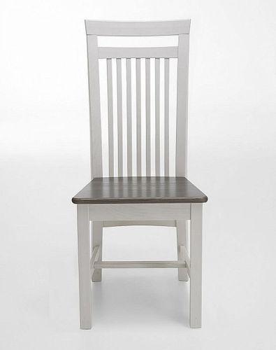 Holzstuhl Kiefer 2farbig weiß grau Stühle Vollholz massiv Stuhl aus Holz – Bild 1