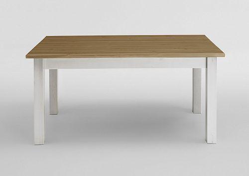 Esstisch 140x90 2farbig weiß gelaugt Kiefer Küchentisch Vollholz massiv – Bild 2