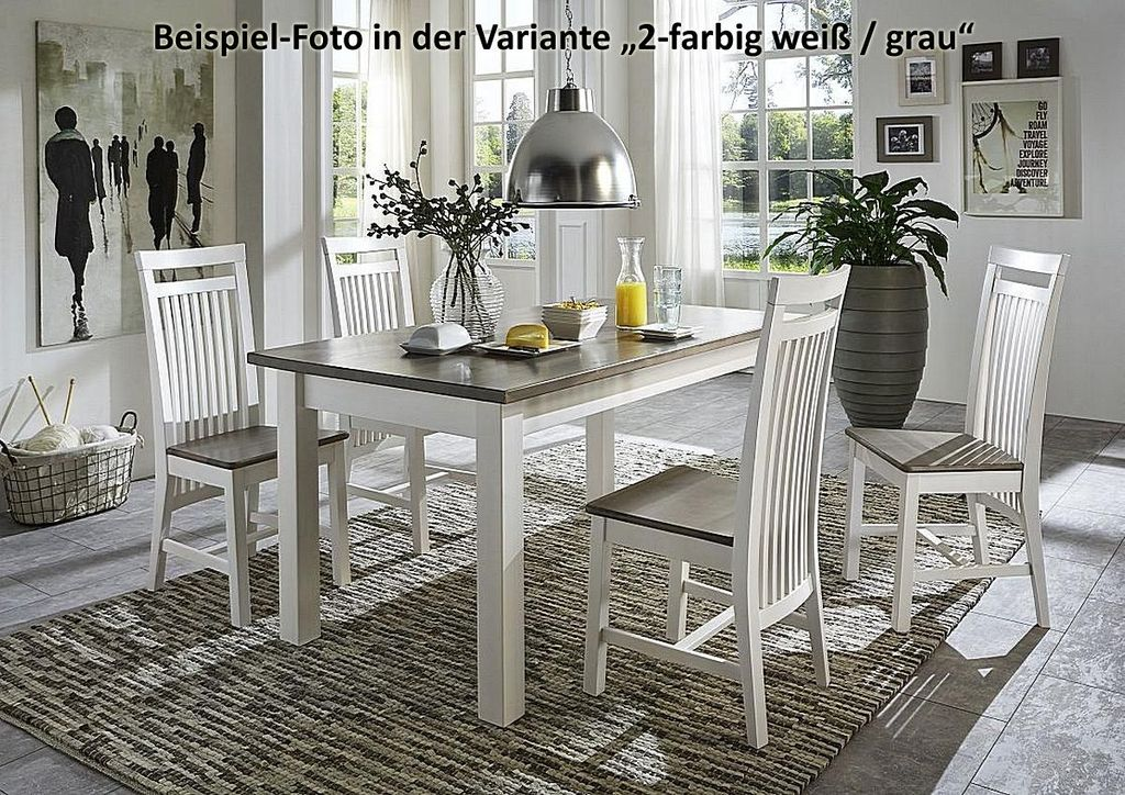 esstisch 140x78x90cm kiefer massiv 2farbig wei grau lasiert. Black Bedroom Furniture Sets. Home Design Ideas