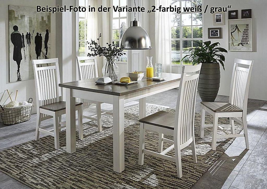 esstisch 140x78x90cm kiefer massiv 2farbig wei grau lasiert. Black Bedroom Furniture Sets. Home Design Ideas