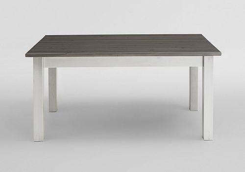 Esstisch 140x90 2farbig weiß grau Kiefer Küchentisch Vollholz massiv – Bild 1