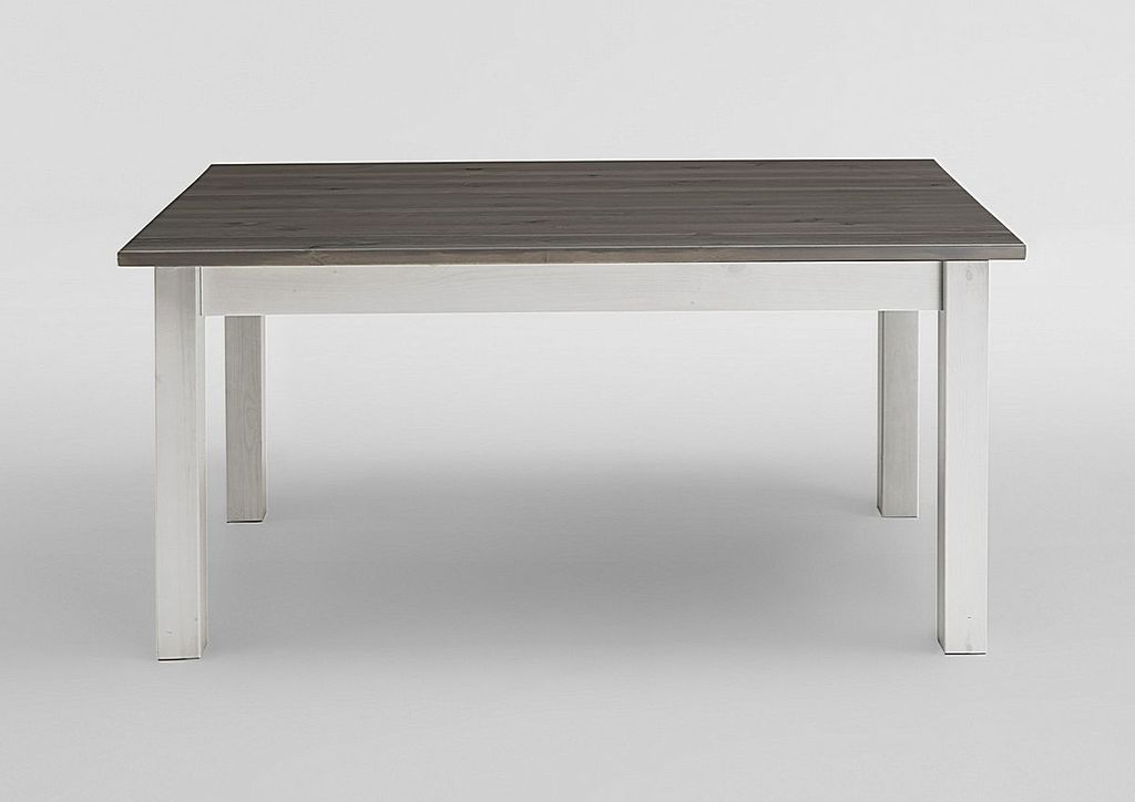 Esstisch 160x78x90cm, Kiefer massiv 2farbig weiß / grau lasiert