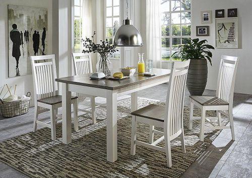 Essgruppe mit 4 Stühlen Kiefer massiv 2farbig weiß grau – Bild 1