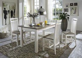 Essgruppe mit 4 Stühlen Kiefer massiv 2farbig weiß grau