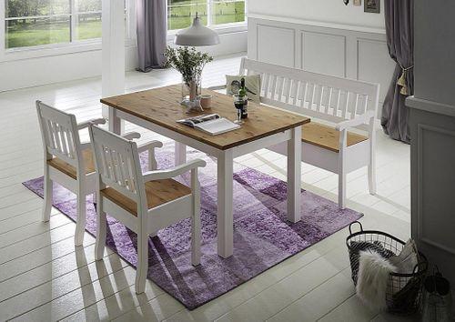 Essgruppe mit Bank und Stühlen Kiefer massiv 2farbig weiß gelaugt – Bild 1