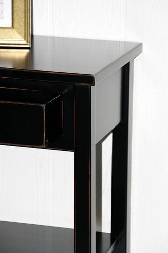 Nachttisch schwarz antik Komforthöhe Beistelltisch Nachtkommode Vollholz massiv – Bild 7