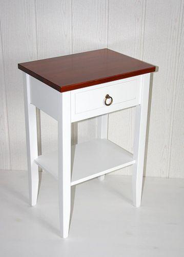Nachttisch zweifarbig weiß kirsch Komforthöhe Beistelltisch Vollholz massiv – Bild 1