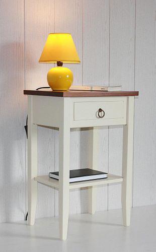 Nachttisch zweifarbig creme kirsch Komforthöhe Beistelltisch Vollholz massiv – Bild 3