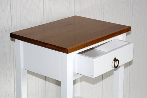 Nachttisch zweifarbig weiß honigfarben Komforthöhe Beistelltisch Vollholz massiv – Bild 6